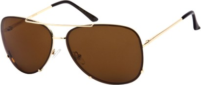 Angle of SW Rimless Aviator Style #323 in Gold Frame with Dark Amber Lenses, Women's and Men's
