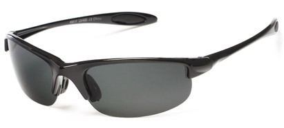 Angle of Ascender #8118 in Glossy Black Frame with Grey Lenses, Women's and Men's Sport & Wrap-Around Sunglasses