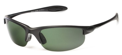 Angle of Ascender #8118 in Matte Black Frame with Green Lenses, Women's and Men's Sport & Wrap-Around Sunglasses