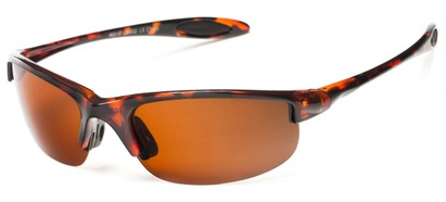 Angle of Ascender #8118 in Glossy Tortoise Frame with Brown Lenses, Women's and Men's Sport & Wrap-Around Sunglasses