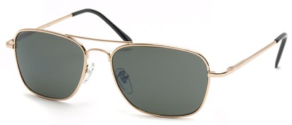 Angle of SW Aviator Style #1609 in Gold Frame with Green Lenses, Women's and Men's