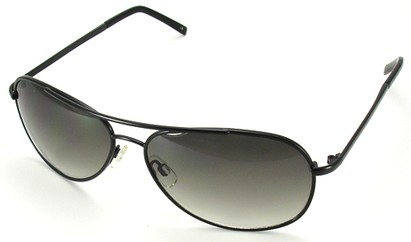 Angle of SW Aviator Style #15036 in Black Frame with Smoke Green Lenses, Women's and Men's