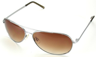 Angle of SW Aviator Style #15036 in Silver Frame with Amber Lenses, Women's and Men's