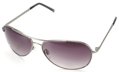 Angle of SW Aviator Style #15036 in Silver Frame with Rose Lenses, Women's and Men's