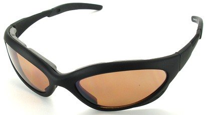 Angle of Dugout #9880 in Black Frame with Amber Lenses, Women's and Men's Sport & Wrap-Around Sunglasses