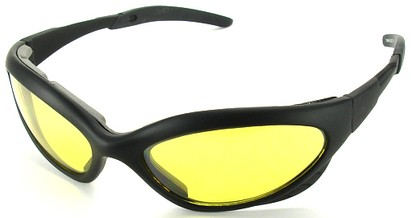 Angle of Dugout #9880 in Black Frame with Yellow Lenses, Women's and Men's Sport & Wrap-Around Sunglasses