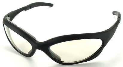 Angle of Dugout #9880 in Black Frame with Clear Lenses, Women's and Men's Sport & Wrap-Around Sunglasses