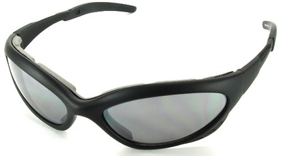 Angle of Dugout #9880 in Black Frame with Smoke Lenses, Women's and Men's Sport & Wrap-Around Sunglasses