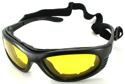 Angle of SW Polarized Goggles Style #9882 in Black Frame with Yellow Lenses, Women's and Men's