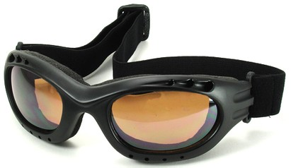 Angle of Bergen #9886 in Black Frame with Amber Lenses, Women's and Men's Sport & Wrap-Around Sunglasses