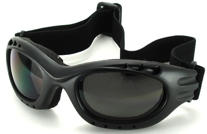 Angle of Bergen #9886 in Black Frame with Smoke Lenses, Women's and Men's Sport & Wrap-Around Sunglasses