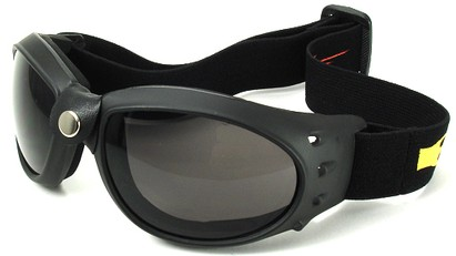 Angle of SW Goggles Style #9883 in Red and Yellow Strap with Smoke Lenses, Women's and Men's