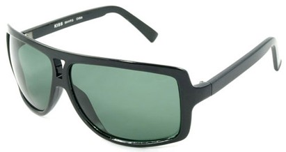 Angle of SW Oversized Aviator Style #1179 in Black Frame with Smoke Green Lenses, Women's and Men's