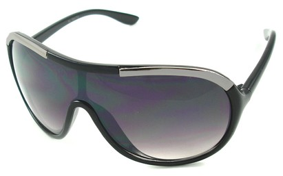 Angle of SW Oversized Shield Style #4724 in Black and Gray Frame, Women's and Men's