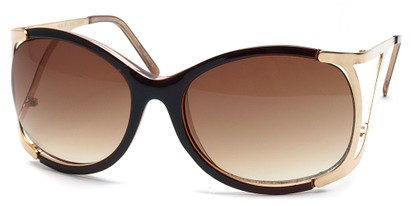 Angle of SW Oversized Style #1896 in Brown and Gold Frame, Women's and Men's