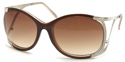 Angle of SW Oversized Style #1896 in Brown and Silver Frame, Women's and Men's