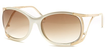 Angle of SW Oversized Style #1896 in White and Gold Frame, Women's and Men's