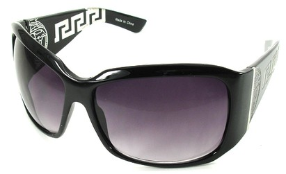 Angle of SW Oversized Style #3711 in Black Frame with Smoke Lenses, Women's and Men's