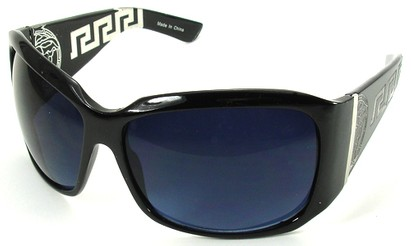 Angle of SW Oversized Style #3711 in Black Frame with Blue Lenses, Women's and Men's