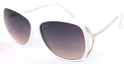 Angle of SW Oversized Style #503 in White Frame with Amber Lenses, Women's and Men's