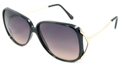 Angle of SW Oversized Style #503 in Black Frame with Amber Lenses, Women's and Men's