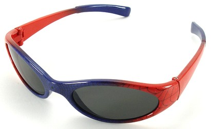 Angle of SW Kid's Sunglasses Spiderman Style in Blue with Red Frame, Women's and Men's