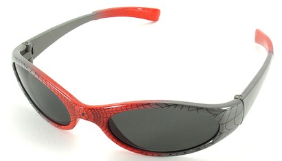 Angle of SW Kid's Sunglasses Spiderman Style in Red with Silver Frame, Women's and Men's