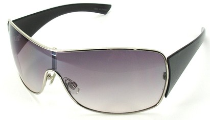 Angle of SW Shield Style #1199 in Silver Frame with Smoke Rose Lens, Women's and Men's