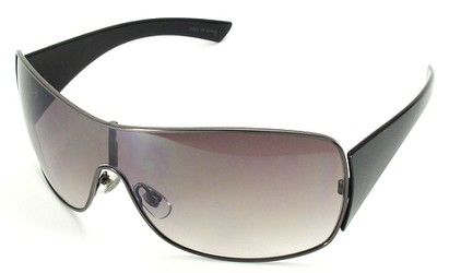 Angle of SW Shield Style #1199 in Black and Grey Frame, Women's and Men's