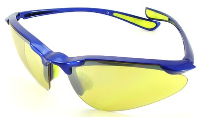 Angle of SW Sport Style #3169 TR90 Frame in Blue Frame with Yellow Lenses, Women's and Men's