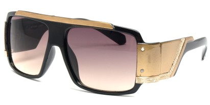 Angle of SW Bling Style #8834 in Black and Gold Frame, Women's and Men's
