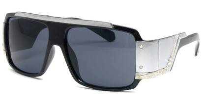 Angle of SW Bling Style #8834 in Black and Silver Frame, Women's and Men's