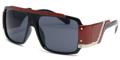 Angle of SW Bling Style #8834 in Black and Dark Red Frame, Women's and Men's