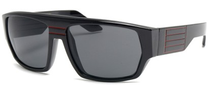 Angle of SW Retro Style #8724 in Black and Red Frame, Women's and Men's