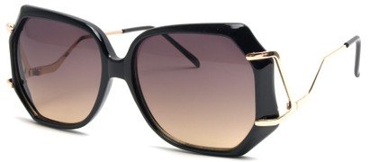 Angle of SW Oversized Style #8836 in Black and Gold Frame, Women's and Men's