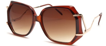 Angle of SW Oversized Style #8836 in Brown Frame, Women's and Men's