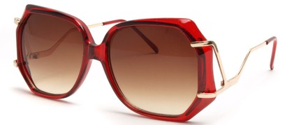 Angle of SW Oversized Style #8836 in Red Frame, Women's and Men's