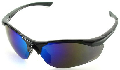Angle of SW Sport Style #1948 in Black Frame with Blue Lenses, Women's and Men's