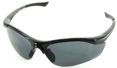 Angle of SW Sport Style #1948 in Black Frame with Smoke Lenses, Women's and Men's