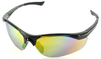 Angle of SW Sport Style #1948 in Black Frame with Yellow Lenses, Women's and Men's