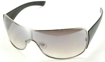Angle of SW Shield Style #1199 in Silver Frame with Light Smoke Lens, Women's and Men's