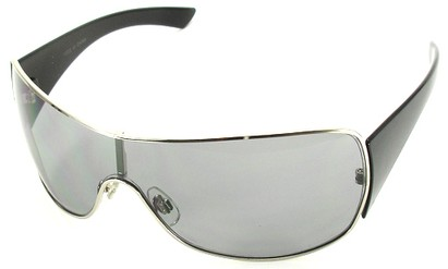 Angle of SW Shield Style #1199 in Silver Frame with Medium Smoke Lens, Women's and Men's