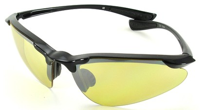 Angle of SW Sport Style #3169 TR90 Frame in Black Frame with Yellow Lenses, Women's and Men's
