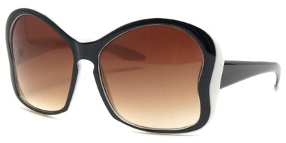 Angle of SW Butterfly Sunglasses #8833 in Black and White Frame with Amber Lenses, Women's and Men's
