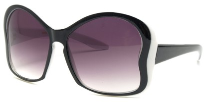 Angle of SW Butterfly Sunglasses #8833 in Black and White Frame with Smoke Lenses, Women's and Men's
