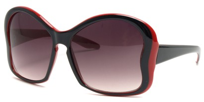 Angle of SW Butterfly Sunglasses #8833 in Red and Black Frame, Women's and Men's