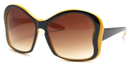 Angle of SW Butterfly Sunglasses #8833 in Yellow and Black Frame, Women's and Men's