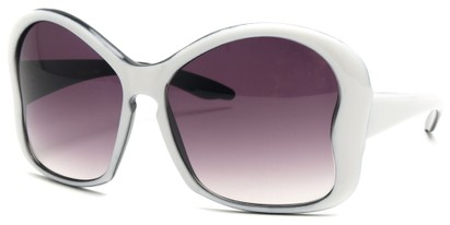 Angle of SW Butterfly Sunglasses #8833 in White Frame, Women's and Men's