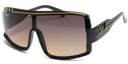 Angle of SW Retro Asymmetrical Style #97 in Black and Gold Frame, Women's and Men's
