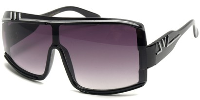 Angle of SW Retro Asymmetrical Style #97 in Black and Silver Frame, Women's and Men's